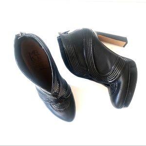 MRKT Peep Toe Cut Out Contour Leather Bootie